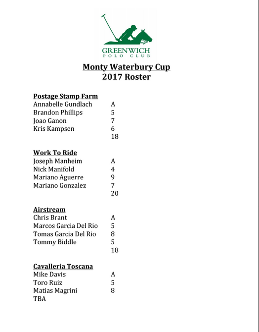 2017 Monty Waterbury Cup Roster